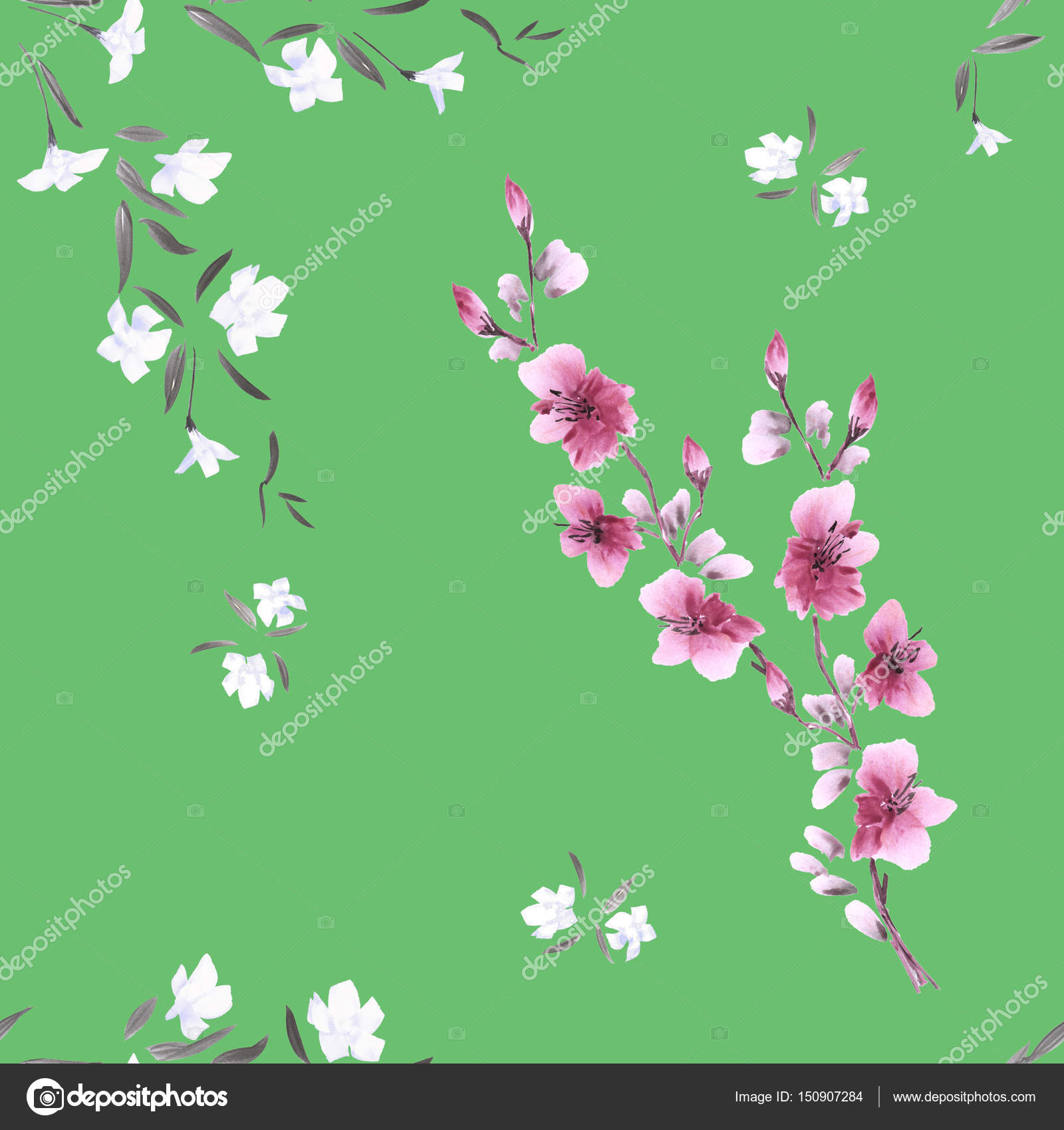 Seamless pattern watercolor small pink and white flowers on a deep seamless pattern watercolor small pink and white flowers on a deep green background stock photo mightylinksfo