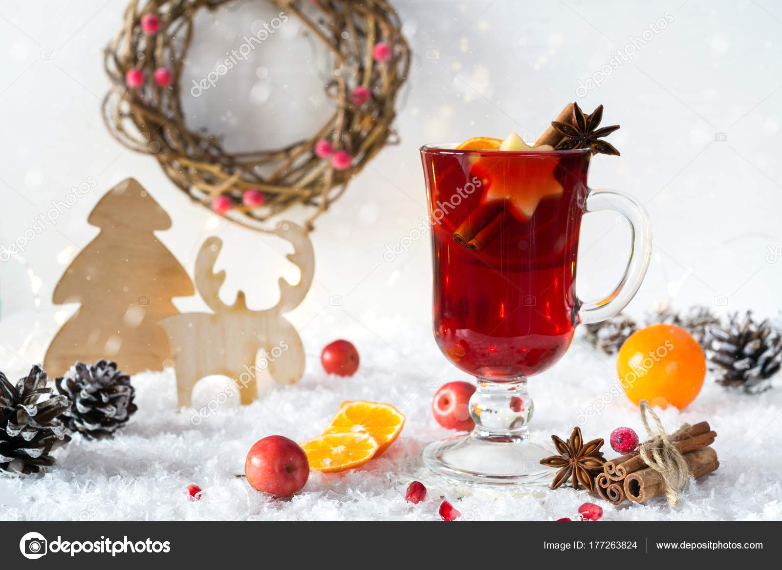 wooden vintage rustic christmas decoration hot mulled spiced red wine stock photo