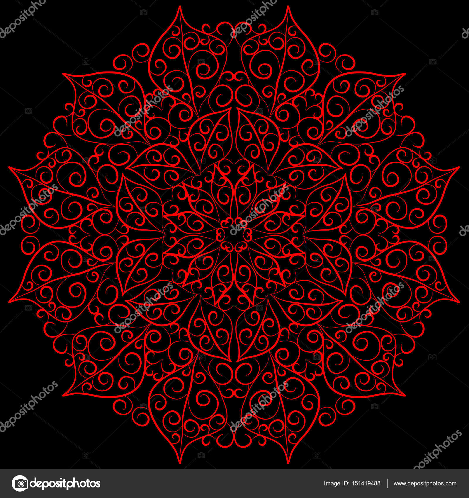 Mandala Card In Red Colors For Backgrounds Invitations Birthday