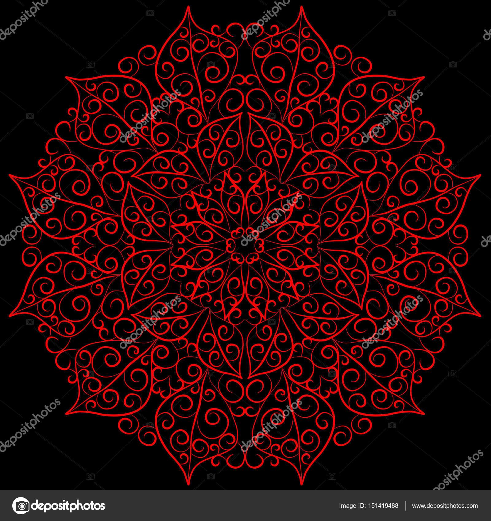 Mandala-Karte in roten Farben für Hintergründe, Einladungen ...