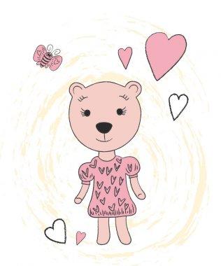 """Картина, постер, плакат, фотообои """"Милый медведь рука нарисованные портрет. Векторные иллюстрации"""", артикул 158363124"""