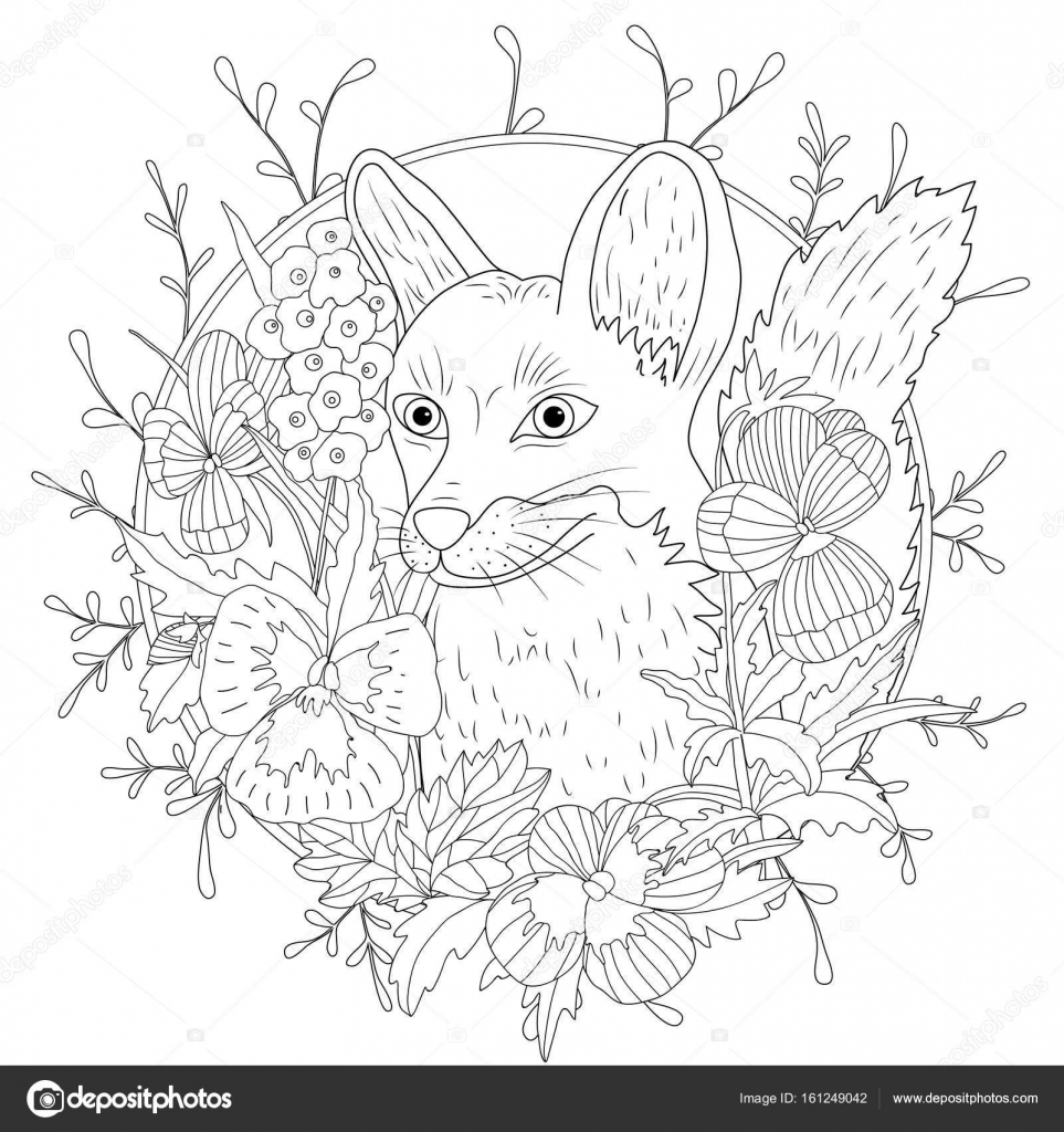 Stylized Cartoon Wild Fox Animal And Violet Flowers Freehand Sketch