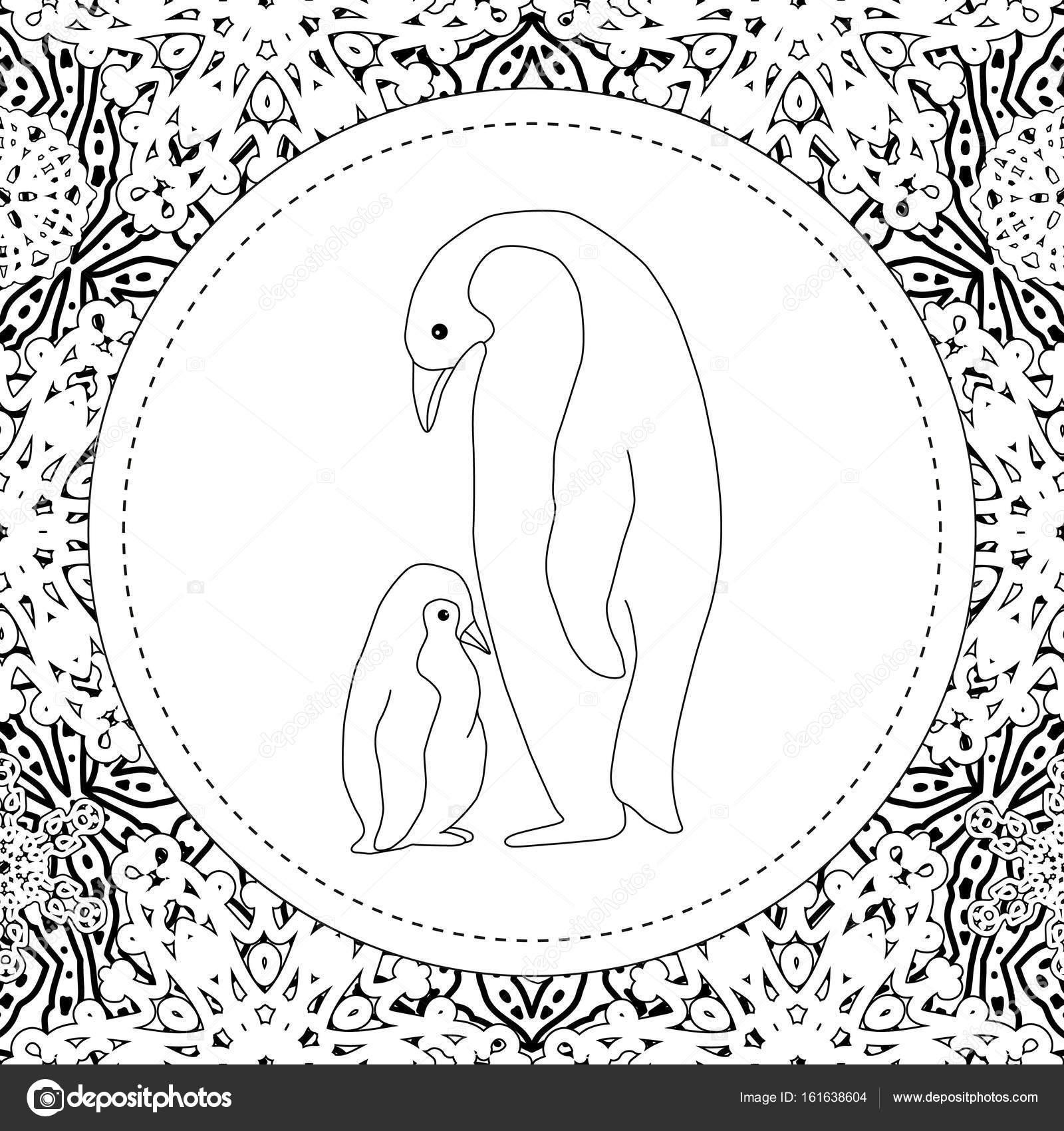 Dibujos para colorear. Mamá pingüino se encuentra con su pequeño ...