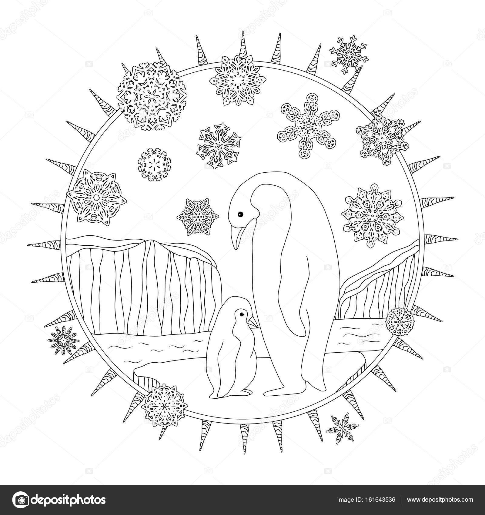 Disegni Da Colorare Pinguino Madre Si Leva In Piedi Con Il Suo