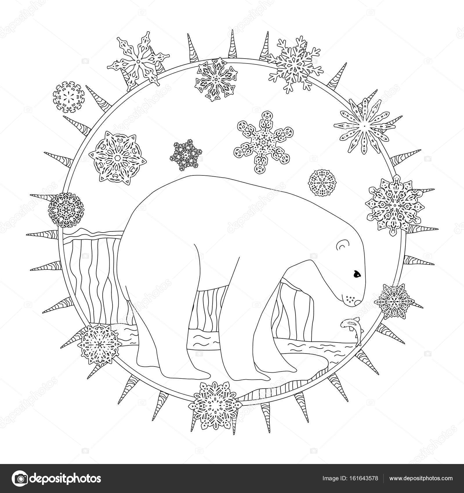 Coloring Pages A Polar Bear Stands In The Snow A Winter Postcard