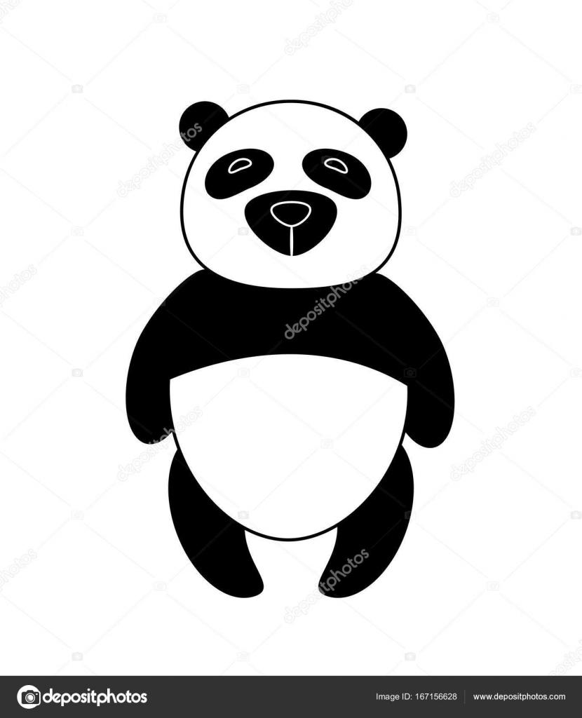 ベクトル イラスト パンダのクマのシルエット ロゴのデザイン