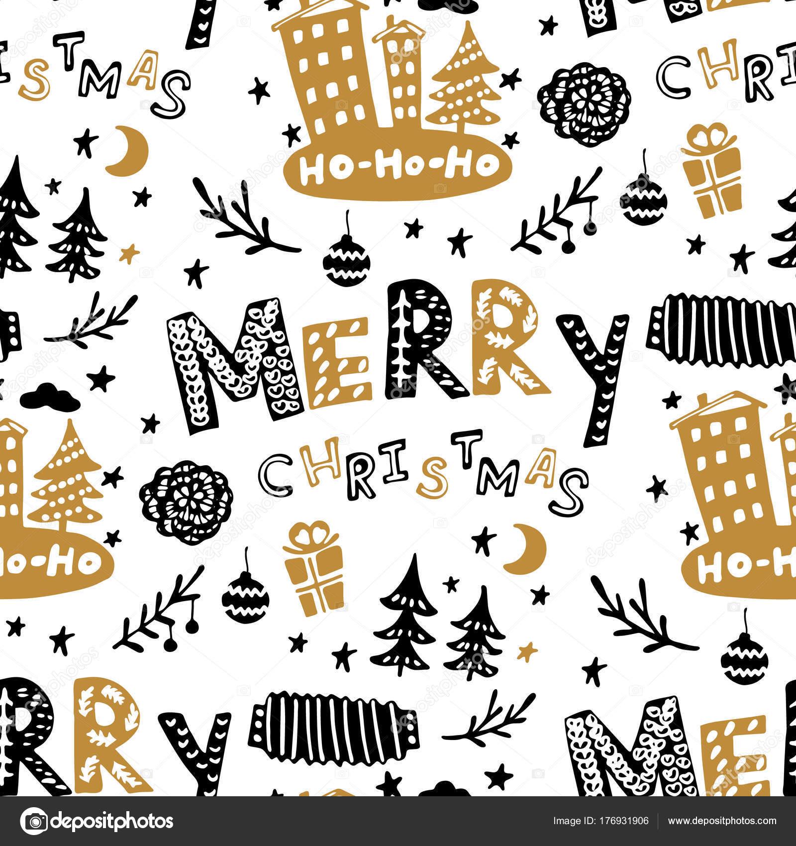 Sin costuras varios patrones Navidad árboles de Navidad, rotulación ...