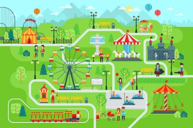 Amusement park map infographic elements in flat vector design.