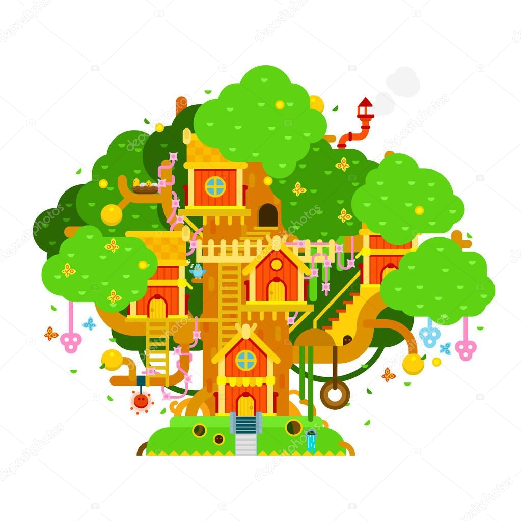 Children treehouse colorful vector illustration with houses,