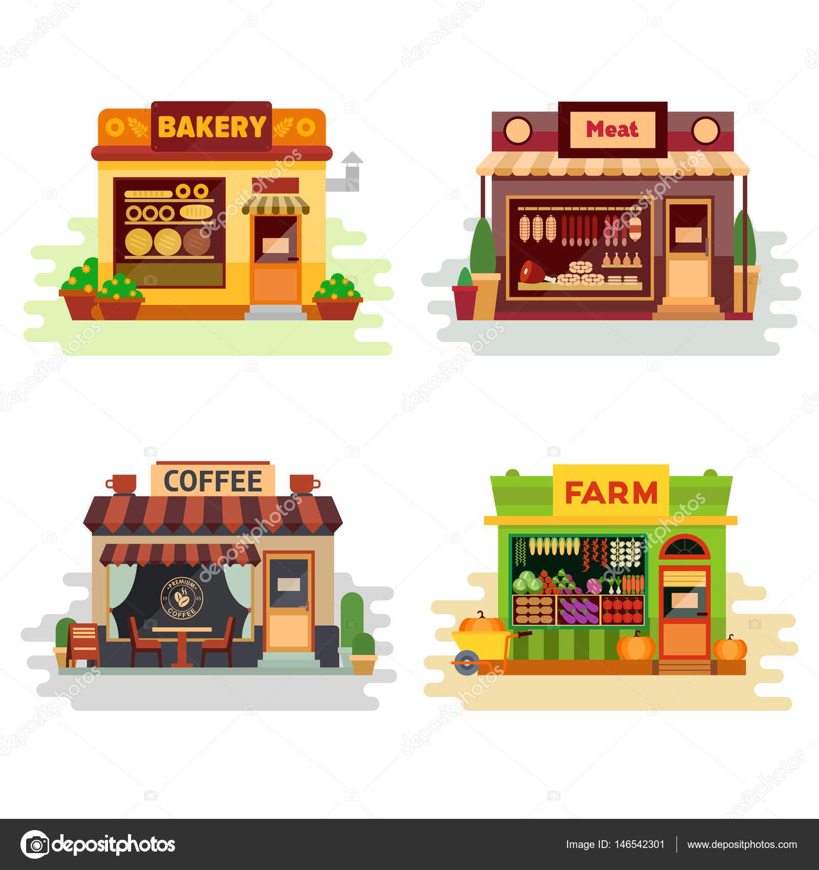 種類のカラフルなお店パン屋さん肉店コーヒー ショップ農産物