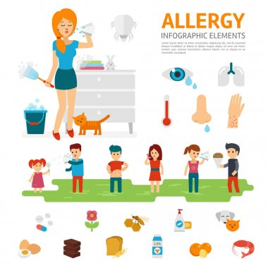 Allergy infographic elements vector flat design illustration. Woman sneezes and allergens icons. People with allergies.