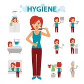 Photo Hygiene infographic elements. Woman is busy, cleanliness, bathing, toilet, laundry, taking a bath, brushing teeth, washing hands, doing makeup.