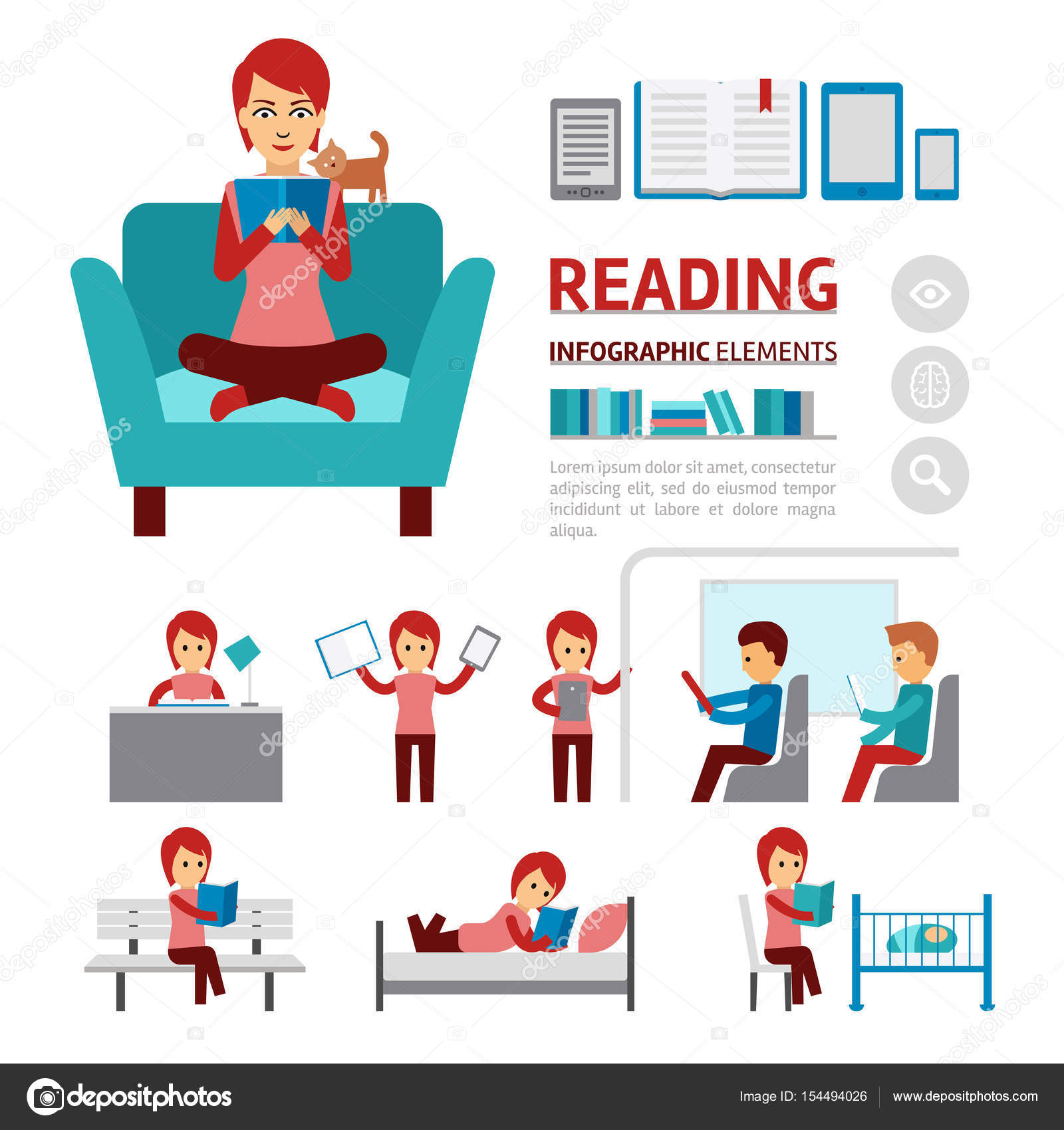 benefits of reading books infographic elements woman sitting in a