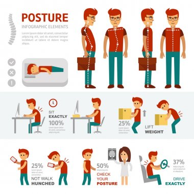 Posture infographic elements. People with back pain go to the doctor and treat scoliosis. Smooth and curve the spine.