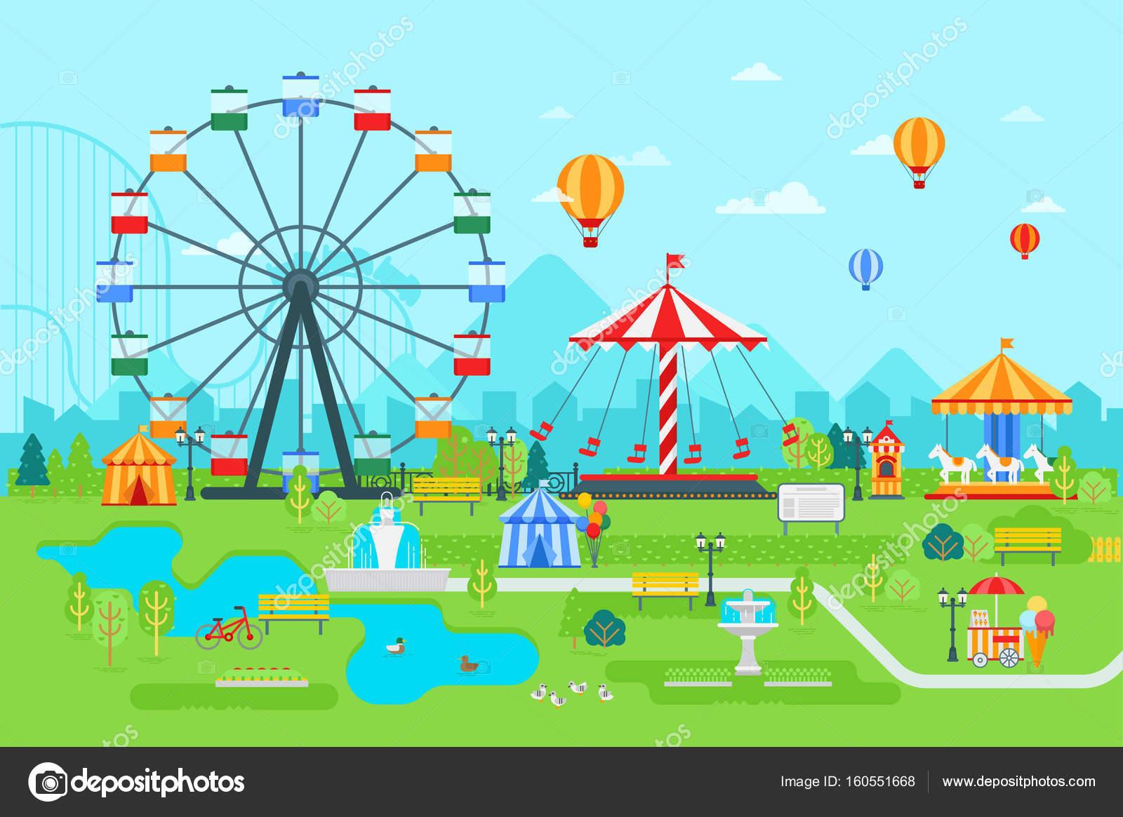 観覧車サーカスカルーセル観光風景や都市の背景と昼間で遊園地