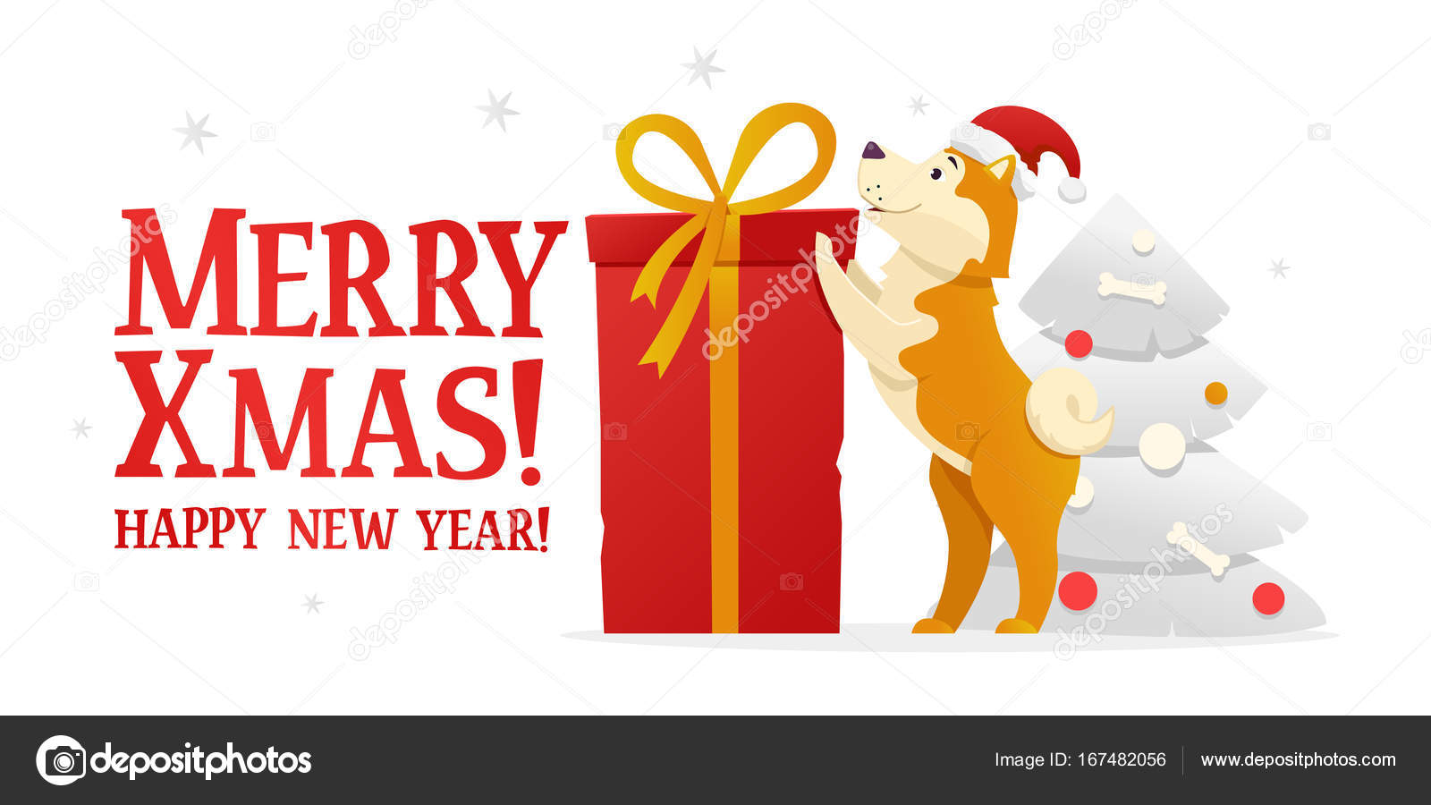 merry christmas and happy new year postcard template with the cute yellow dog with the big
