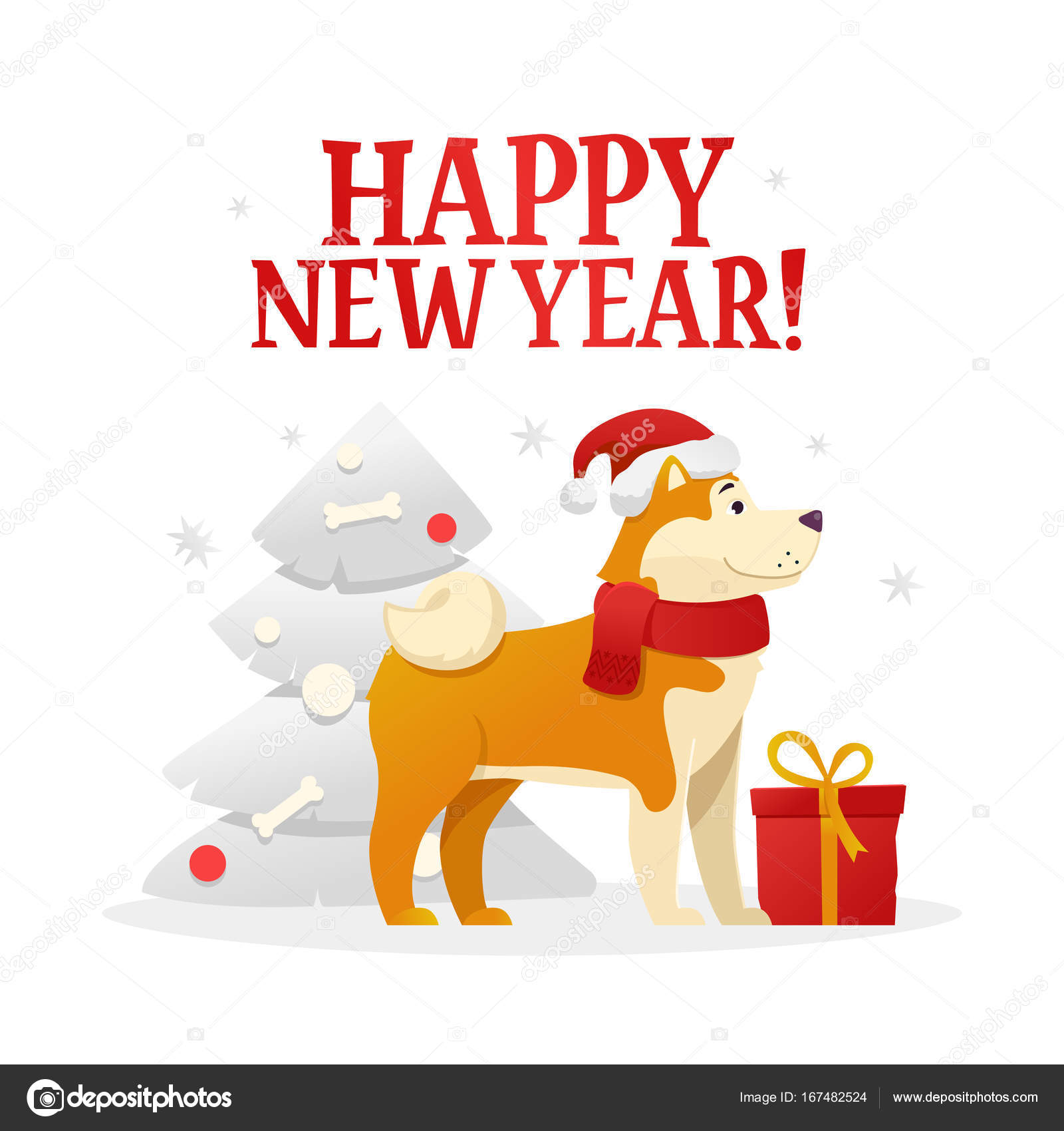 happy new year postcard template with the cute yellow dog with the red gift near the