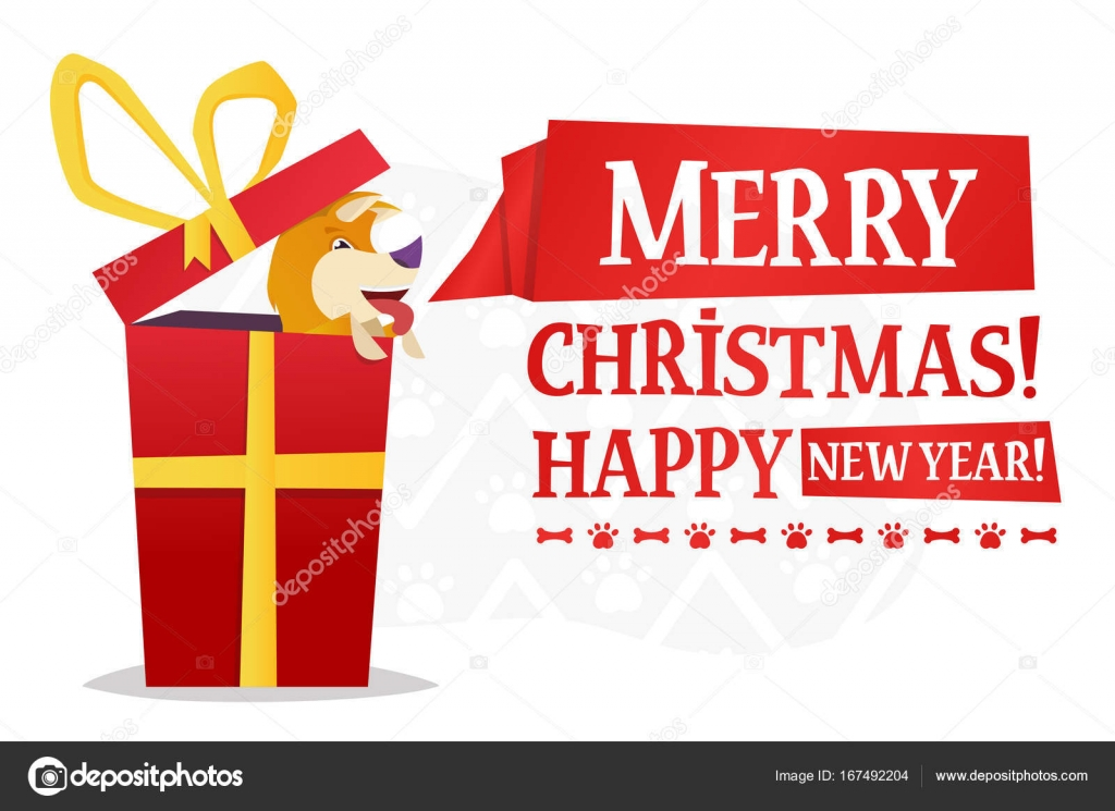 merry christmas and happy new year postcard template with the cute yellow dog inside the big