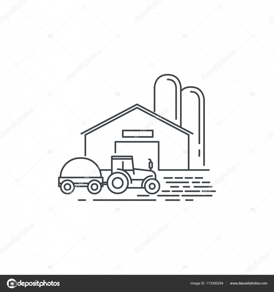 Farm Barn And Tractor Line Icon Outline Illustration Of Horse Vector Linear Design Isolated