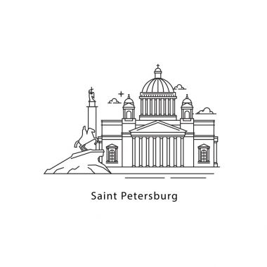 Saint Petersburg logo isolated on white background. Saint Petersburg s landmarks line vector illustration. Traveling to Russia cities concept clip art vector