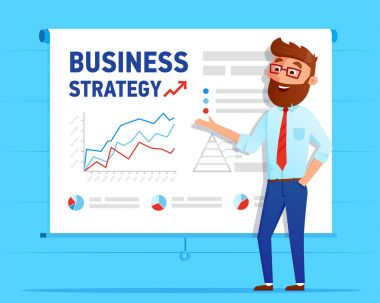 Businessman shows business plan on projector screen with the business strategy graphs and charts. Business man cartoon character with infographics vector flat design.