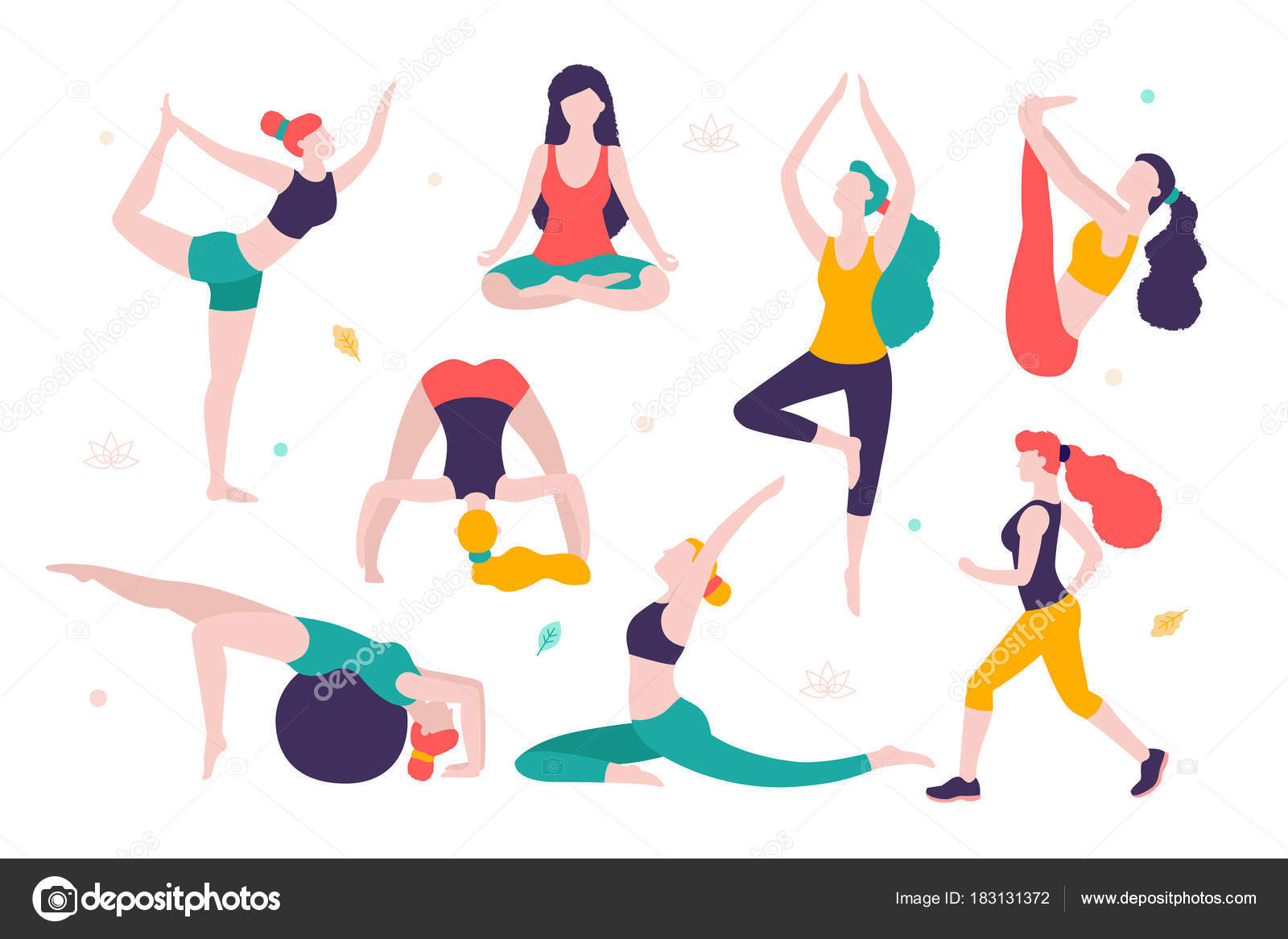Deportes Diferentes Deportes: Mujeres Haciendo Deportes. Diferentes Posturas De Yoga