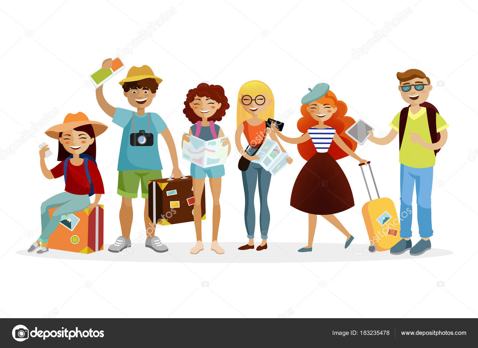 Group Of Tourists Cartoon Characters Vector Flat Illustration Young Funny People With Suitcases Are Traveling Together Stock Vector C Bezvershenko 183235478