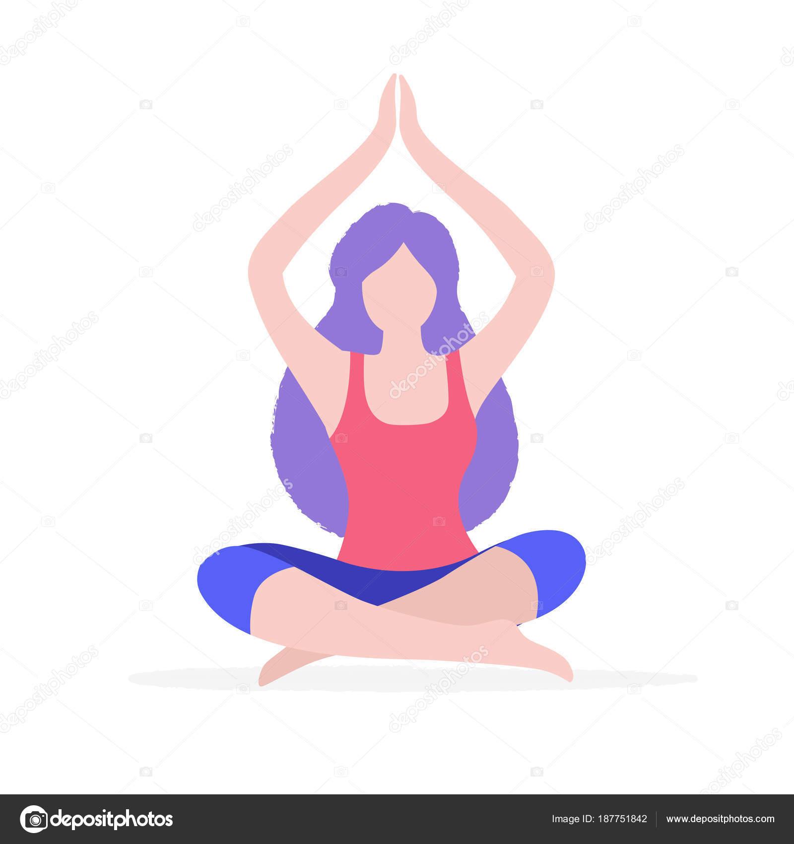 女性ヨガ ベクトル フラット イラスト白背景に分離されました体操と