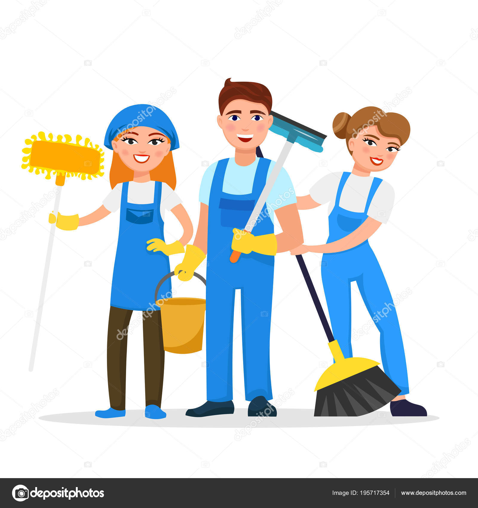 Hotel Housekeeping Services: Cleaning Service Staff Smiling Cartoon Characters Isolated