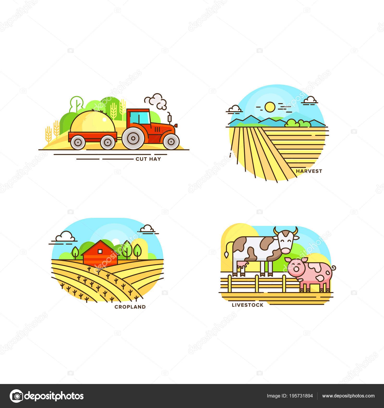 ロゴのコレクションのライン デザインの農業。ファームの風景、納屋