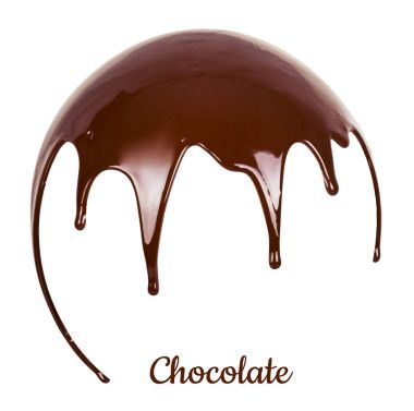 Melted brown chocolate syrup on white background