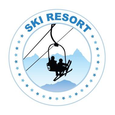 Ski resort design vector