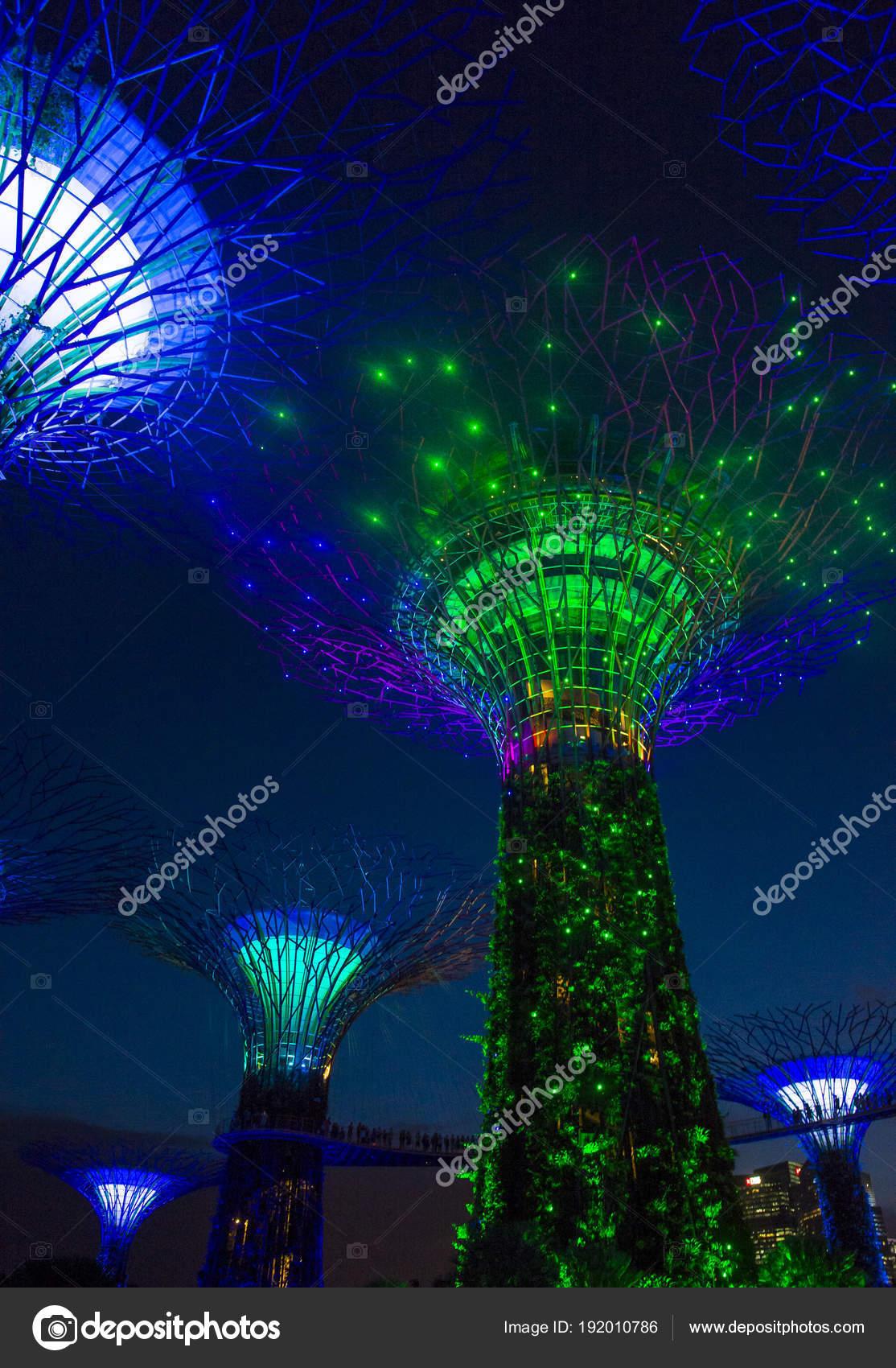 Singapore feb supertrees in giardini dalla baia a - Vialetto giardino illuminato ...