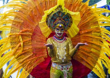 BACOLOD , PHILIPPINES - OCT 27 : Participant in the Masskara Festival in Bacolod Philippines on October 27 2019. Masskara is an annual festival held every fourth Sunday of October