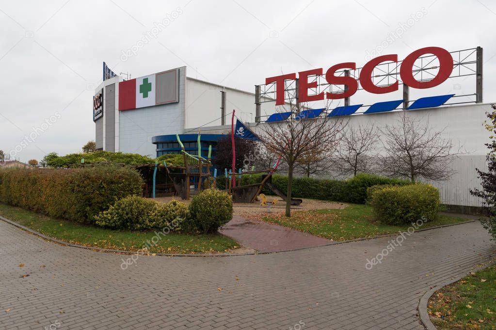 23 of October, 2017, Editorial photo of Tesco supermarket, shopping park, Brno, Czech Republic