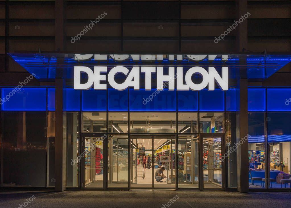 6 on November, 2017, Editorial photo of Decathlon in the night