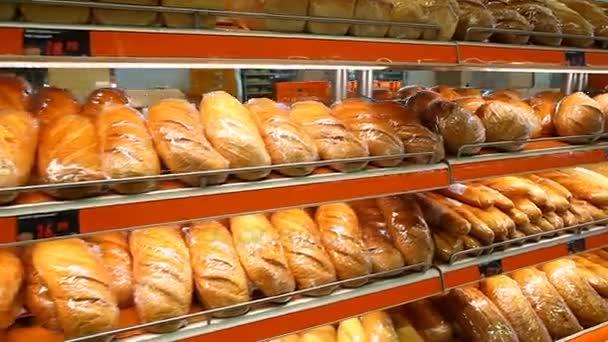 Bread showcase in supermarket