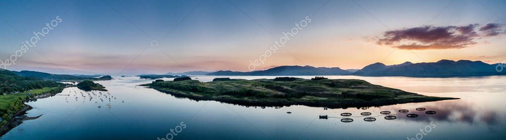 Aerial view of coast by Appin with views over Shuna Island and Arnamurchan