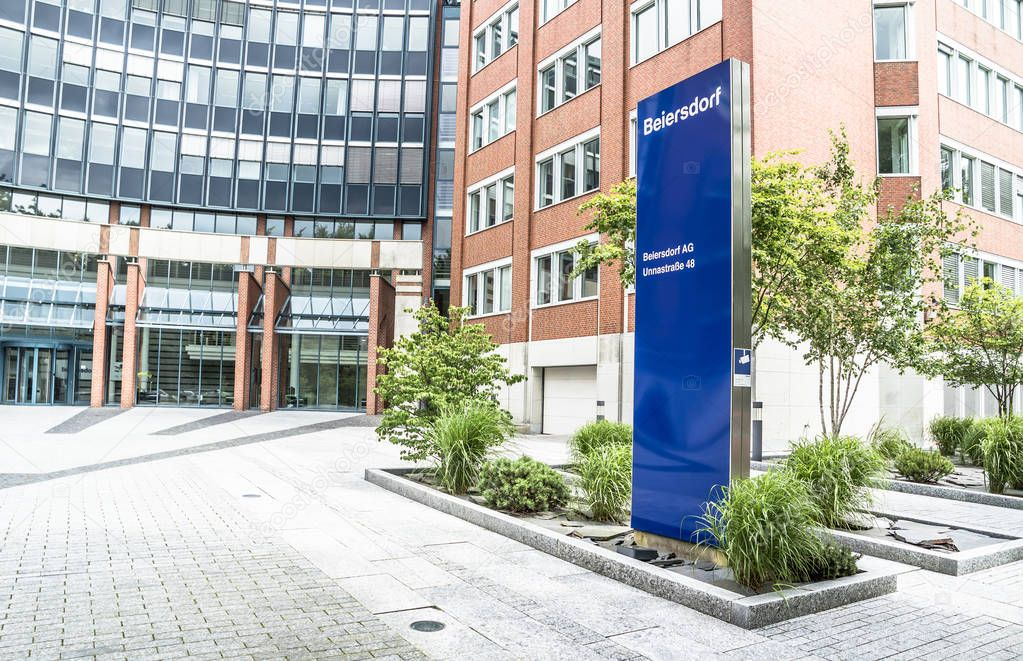 Hamburg , Germany - July 13 2017: The headquarters of Beiersdorf is manufacturing personal care products