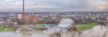 Aerial view of the skyline of the city of Duisburg during the Flooding of January 2018