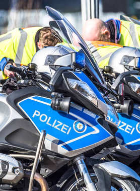 Close-up of German police motor bikes with anonymous police men