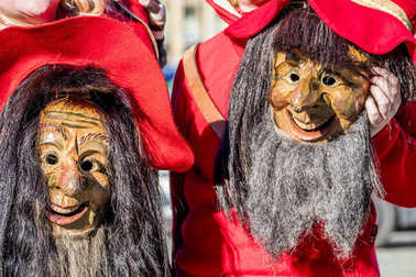 Close-up of two traditional Fasching ,carnical, masks in Germany