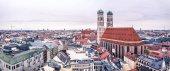 Luftaufnahme der Stadt München - alle Logos und Markennamen entfernt