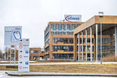 Neubiberg , Germany - February 16 2018 : Infineon is controlling their business from their headquarter building close to Munich