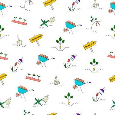 Spring gardening seamless pattern.