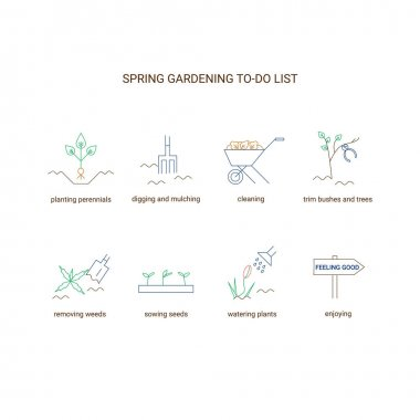 Gardening line icon set