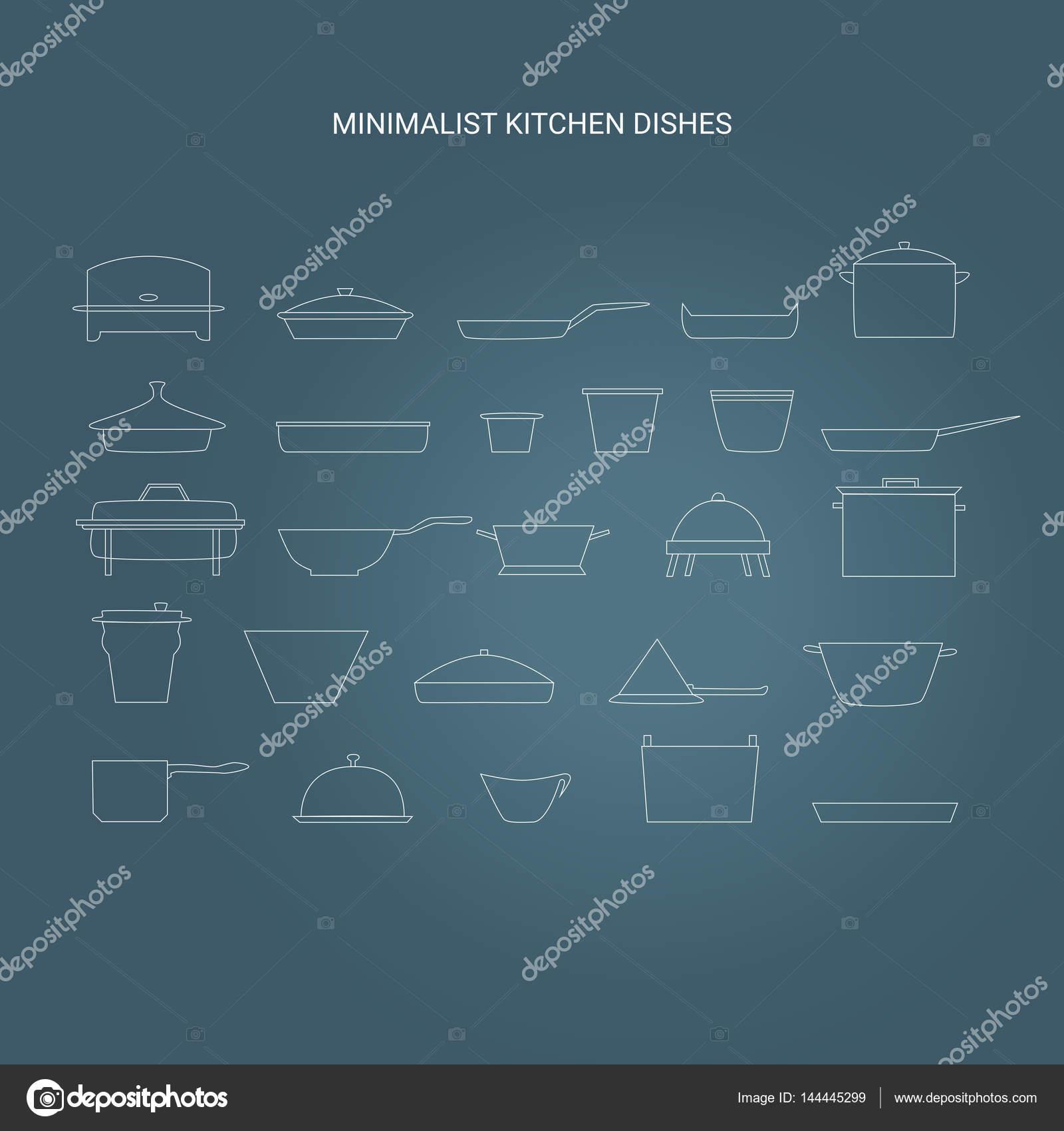 Minimalist kitchen dishes vector restaurant essentials icon set