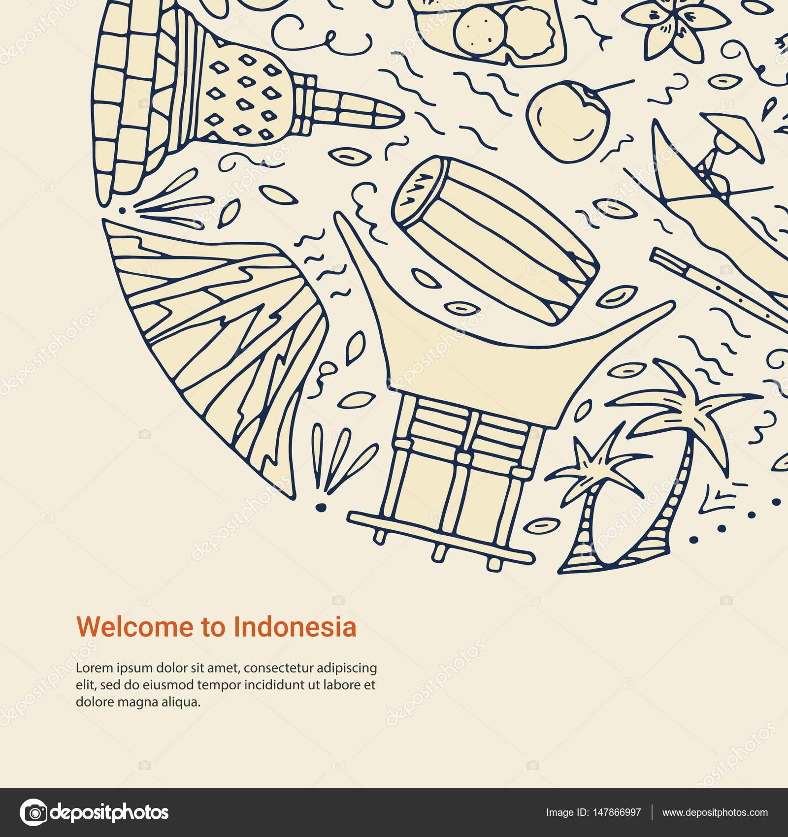 Concepto elaborado de la mano con símbolos de Indonesia — Archivo ...