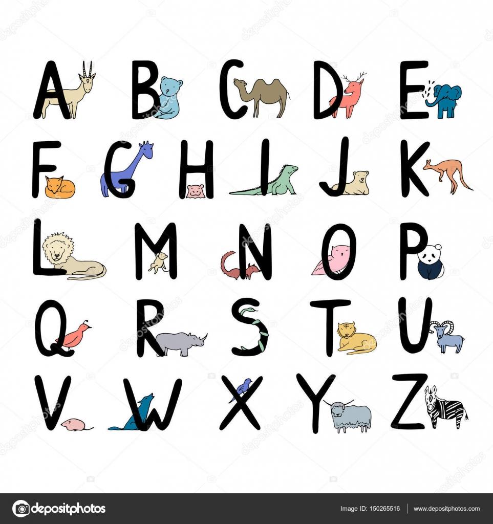 子供の動物のアルファベットを手書き — ストックベクター © elinkim