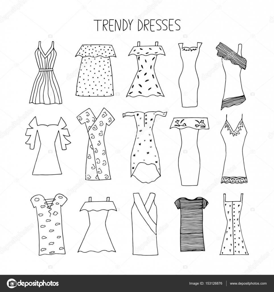 3734d6ad431 Moda dibujado mano vestidos de concepto de diseño. Vestidos de moda con s —  Archivo